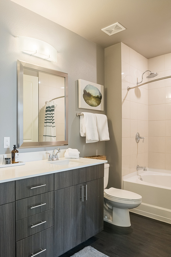 LEED-certified apartment bathroom featuring energy efficient LED lights and water efficient faucets