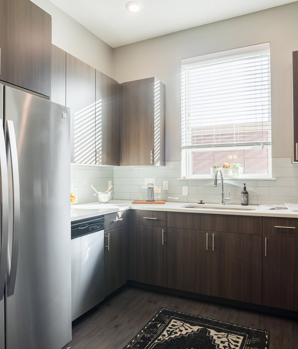 sun light shining through a kitchen window featuring stainless steel appliances, white counters and thick rich wood cabinets