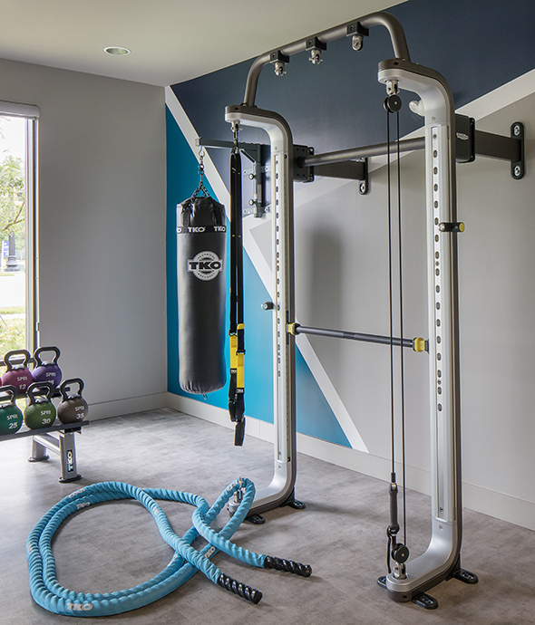 Fitness room with pull up station, battle ropes, punching bag, kettle bells and large window.