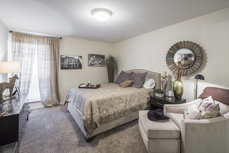 Bedroom with plush carpet, large window with natural light, and large bed with comfortable bedding.