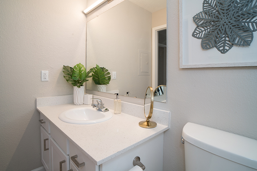 Bathroom with white cabinets and counters, large lighted mirror, potted plant, and wall art.