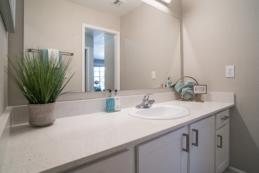 Bathroom with white cabinets and counter, large lighted mirror, and potted plant.