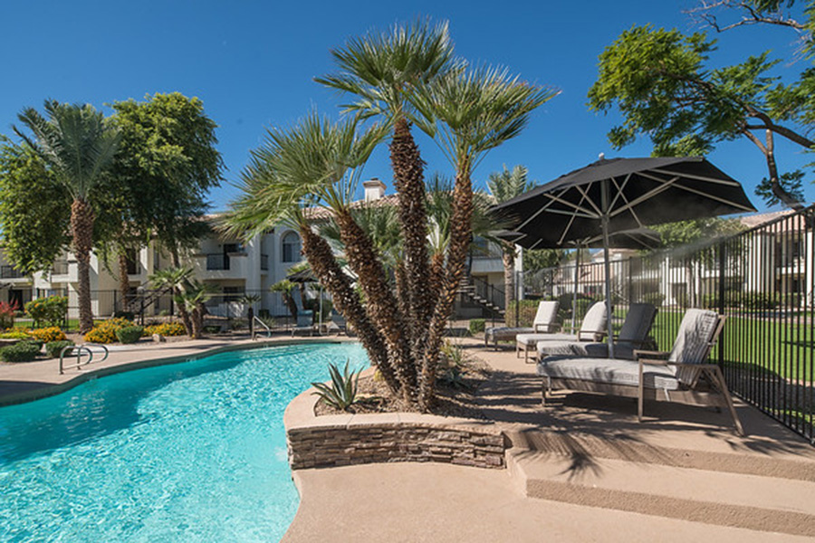 Pool area with stone walls, lounge chairs, and palm trees surrounded by apartments.
