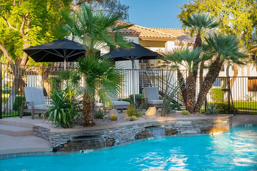Pool with blue water, stone walls, lounge chairs with umbrellas, and palm trees.