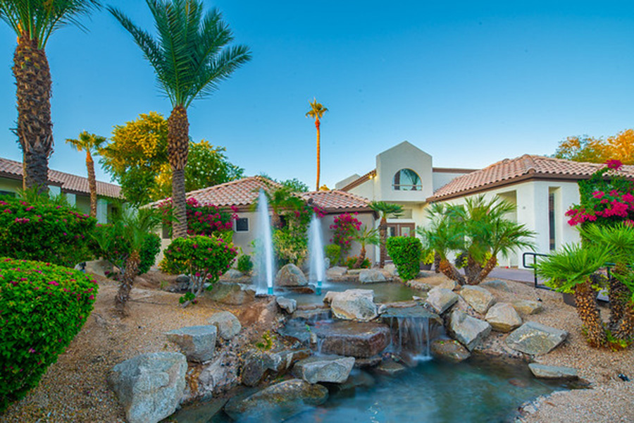 Landscaped area with ponds, fountains, waterfalls, and tall palm trees.