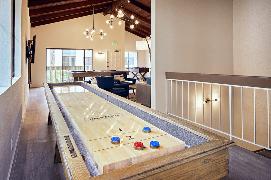 Game area with wood floors and large shuffleboard table.