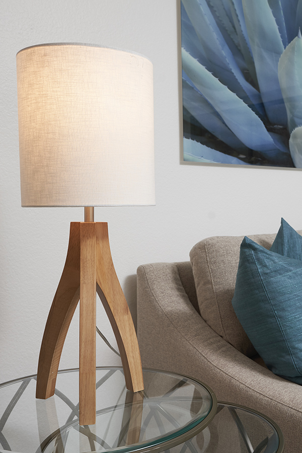 Detail of side table with wood lamp and plush couch with pillows.