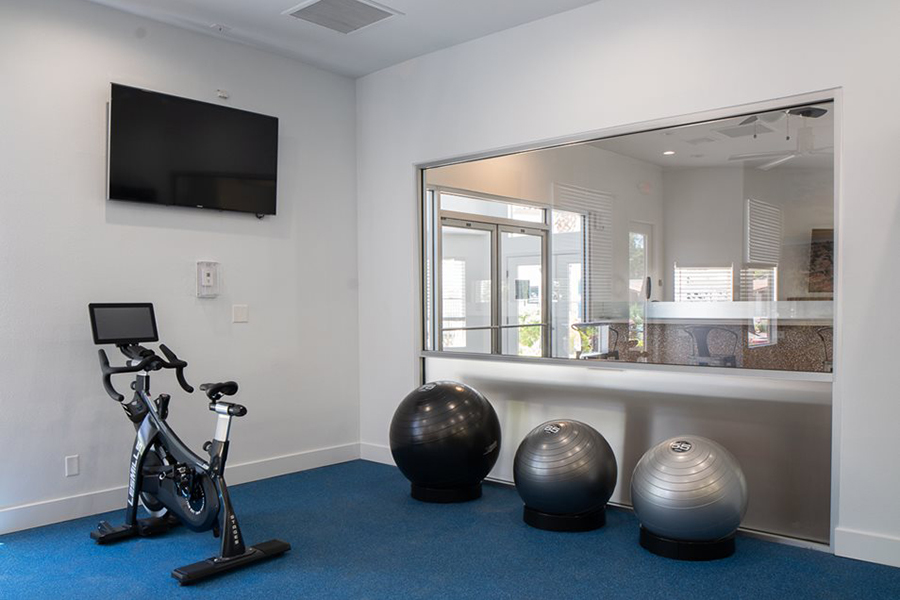 Fitness center with wall mounted TV, spin bike, and fitness balls.
